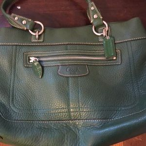 Rare Apple green thick leather Coach bag.